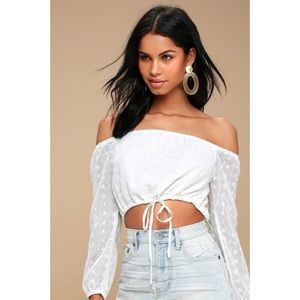 White Eyelet Off The Shoulder Crop Top